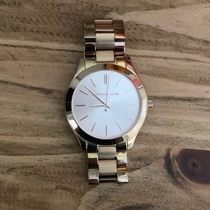 Michael Kors slim runway rose gold watch
